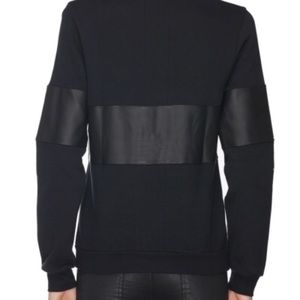 Lot78 Sweaters - Lot 78 Leather and Cotton Sweatshirt in Black